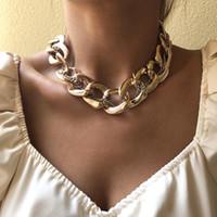Punk Miami Cuban Couker Collier Goth Hip Hop Big Chunky Gold Couleur Épaissir Collier Chaîne de cou pour femmes Accessoires de bijoux