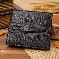 Heißer Verkauf Denkthendo Gefälschte Krokodil Gator Herren Leder Brieftasche Taschen ID Kreditkartenkupplung Bifold Drop Versand Gute Qualität