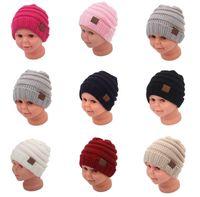 Moda sonbahar ve kış çocuk şapka yün örgü şapka bebek kapüşonlu sıcak şapka
