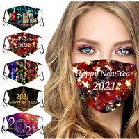 2021 Mutlu Yeni Yıl Çocuklar Yetişkin Yüz Maskeleri Filtre Ile Baskılı Xmas Anti Toz Sis Ağız Kapak Nefes Yıkanabilir Çocuk Noel Hediyesi IA914