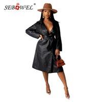 المرأة الخندق معاطف sebowel امرأة مثير ليلة نادي بو الجلود سترة واقية سترة الصلبة مع حزام الخريف الشتاء 2021 السيدات أنيقة معطف S-2X