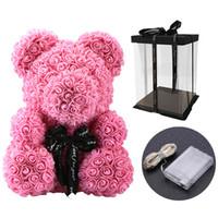 40 cm encantador oso de rosas con caja de regalo led oso de peluche de peluche de rosa de espuma de espuma de jabón de rosa Regalos de Año Nuevo artificial para el regalo del día de San Valentín PPE3948