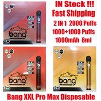 Sıcak Anahtarı XXL Pro Max 6 ml Tek Kullanımlık Cihaz Kiti Vape 1100mAh Süper Bang Pods 2000 Puffs Pil 2 XXTRA Çift Kalem Ezzy Flex PU BJGB Için