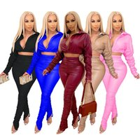 Moda PU Skórzane Zestawy dla Kobiet Dresy Długie Rękaw Płaszcze Pant Two Piece Spring Fall Female Clothing Secy Club