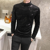 Fashion 2020 Autumn T-shirt Men Clothing Hot Sale Sequins T Shirts Mens Long Sleeve All Match Comfortable Knitted Turtleneck 5XL X1214