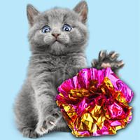 القط لعبة القصدير احباط ملون حلقة الورق لامعة التفاعلية الكرة كرات كرينغ كاتس القطط الصوت لعب الحيوانات الأليفة لعب كرات VTKY2351