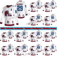 Colorado Avalanche Jersey 2020-21 عكس الرجعية كيبيك Nordiques 8 Cale Makar 29 Nathan Mackinnon 96 Rantanen 92 Landeskog الهوكي الفانيلة