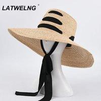 Sombreros de ala ancha Fashion Ladies Strap DISEÑA Sombrero de playa Hecho a mano Rafia Sol de verano para las mujeres Tapa de peinado de gran tamaño S1103