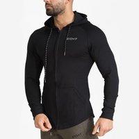 Automne Nouveau Mens Sweat-shirt Sweats en coton Gyms Fitness Bodybuilding Sweat à capuche masculin Casual Mode Slim Capuche à glissière à capuche Tops Vêtements1