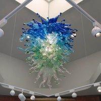 البحر الأزرق الفن مصممة بشكل جيد الرئيسية الثريا الإضاءة الحديثة نمط زجاج مورانو LED الحديثة الثريا لمجلس النواب