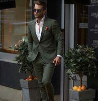 Мужские костюмы Blazers Прибытие Темно-зеленый мужской костюм 2 шт. (Куртка + брюки) Тонкий Fit Gooom Tuxedo Мода Пользовательские Свадебные PROM BLAZER1