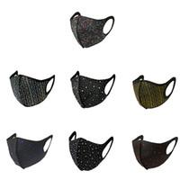 디자이너 얼굴 마스크 블링 다이아몬드 보호 PM2.5 검은 입 재사용 귀 훅 파티 마스크