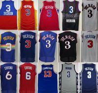 Georgetown Hoyas College Allen Iverson Jerseys 3 hommes Basketball Dr J Julius erving 6 Wilt ChamberLain 13 Bleu Noir Blanc Rouge Bonne qualité
