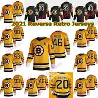 Boston Bruins 2021 Reverse Retro Hockey Jerseys Matt Grzelcyk Jersey Brandon Carlo Jaroslav Halak Anders Bjork Jore Moore 사용자 정의 스티치