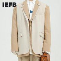 IEFB men's design blazes 2020 new Korean color block patchwork fake two pieces loose suit coat for male autumn new jacket 9Y4598