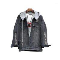 남성용 자켓 Loldeal 남성용 겨울 데님 후드 워드 재킷 슬림 피트 캐주얼 버튼 고민 된 청바지 코트 outwear1