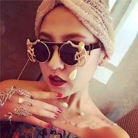 Nouveau métal rétro cadre léopard métal or singe lunettes de soleil baroque lunettes de soleil de luxe Sun Beach Chain Perle Verres rondes