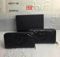 Frauen Schwarz Zick ZAG Kreditkartenhalter Leder Langer Reißverschluss Marmont Münze Geldbörse Brieftasche Mode Liebe Kupplung Brieftaschen GUI4578