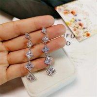Hoop Huggie Kadın Kare Elmas Küpe 925 Ayar Gümüş Boho Düğün Beyaz Topaz Gemstone Takı Kore Uzun Küpe1