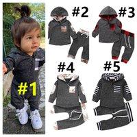 Çocuk Eşofman Bebek Erkek Kız Sonbahar Kış Uzun Kollu Kapşonlu Hoodie Kazak Pantolon Tayt İki Adet Set Oufits Spor Takım E121604