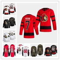 2021 Reverse Retro Ottawa Senators Jersey Brady Tkachuk Bobby Ryan Daniel Alfredsson Mark Borowiecki Thomas Chabo Craig Anderson Hainsey