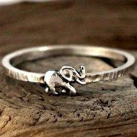 Elephant Pattern placcato argento anello gioielli a mano gioielli da uomo donne retrò originalità animale modellazione anelli coda nuovo modello 1 2CR J2
