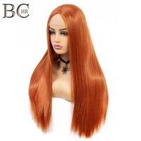 22 inç Düz Peruk Turuncu Sentetik 13 * 4 Dantel Ön Peruk Kadınlar Için Orta Bölüm Uzun Peruk El Yapımı Dantel Saç Nakliye