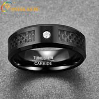 Anello maschile 8mm 8mm Fibra di carbonio nero in fibra di carbonio in fibra di carbonio obliqua anello 100% anelli di fidanzamento in acciaio al tungsteno bague homme gioielli1