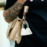 Fashion Boho Weave Rainbow Tassel Keychain Bolso cuelga el titular de la llave de oro Regalo de la joyería de moda Will y Sandy New