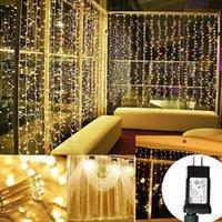 3x3m 6x3m 300leds 600leds 600LEDS LED Icicle Fairy String Luz Christmas Festa de Casamento Fadas Fadas Forada Garland para Decoração de Janela de Cortina Home