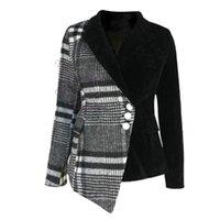 LANMREM 2020 Новый осенью и зимний поворотный воротник полные рукава шерсть лоскутная бархатная кнопки высокая талия пиджак LJ201021