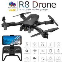 WiFi Drones Toy Boy 4K HD R8 Cámara Dual FPV DRONE DRUTE Quadcopter Min Drone Foldable GPS Control remoto Helicóptero Piedopótico RC Burmg