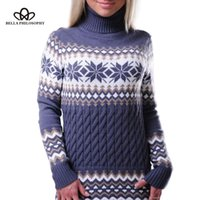 Bella Philosophie Frauen Europäische Amerikanische Christmas Turtscheck Kleid Lange Schneeflocke Pullover
