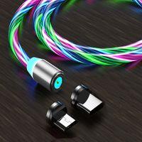 Type-c USB متوهجة كابل شاحن سريع خط شحن سريع 3ft 2a مايكرو شحن الحبل الصمام التدفق ضوء كابل المغناطيسي لسامسونج هواوي