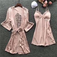 Lisacmvnel primavera nueva camisola sexy mujer robe seda de hielo manga larga pijamas 2 piezas hueco moda dormir ropa de dormir y200107