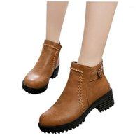 Женщины плоские ботинки лодыжки осень осень зимняя обувь студент на высоком каблуке одиночные ботинки толстые платформы пинетки винтажная обувь мягкая обувь1