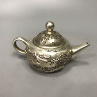 Collection Folk Art Vintage Rare old Chinese Tibetan silver hand-carved Dragon and phoenix Teapot w Qianlong Mark