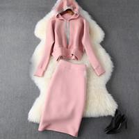 2019 otoño invierno rosa manga larga algodón con capucha sudadera con capucha + falda media de becerro Dos piezas 2 piezas Set N11T10424