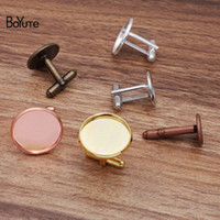 Boyute (20 stuks / partij) 12mm 14mm 16mm 20mm Cabochon Base Metal Franse manchetknoopspennen Lade Bezel DIY Herenkleding Accessoires