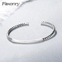 Foxanry 925 Sterling Silver Fashion Semplice Geometric Polsino Bangles Couples Party Bracelet Gioielli regolabile per le donne