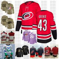 2021 inverse rétro Personnaliser # 43 Morgan Geekie Carolina Hurricanes Jerseys Golden Edition Camo Anciens Combattants Jersey de hockey Cancer