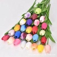 50 шт. DHL Латекс тюльпаны искусственный PU Цветочный букет из реальных цветов для украшения дома свадьба декоративные цветы многоцветные FY2425