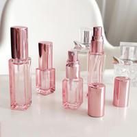 4 ml 9ml 20 ml 30 ml de oro rosa mini pulverización de la botella de perfume contenedor cosmético recargable de desinfección Botella de aluminio del atomizador de rocío puro