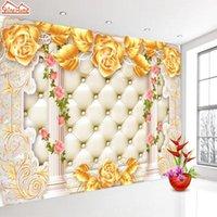 Shinehome-grande oro rosa morbido pilastro pilastro carta da parati 3 d moderno soggiorno floreale murales wahable wallpaper desktop
