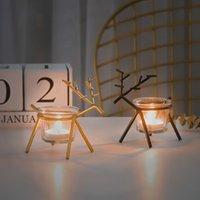 Noel Mumluk Ferforje Sanat Yaratıcı Geyik Mumluk Navidad Noel Yeni Yıl Restoran Ev Dekorasyonu
