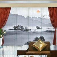 Sol paisagem montanhas florais estilo chinês 3d personalizado cortinas drape painel puro tulle decoração de casa sala de estar quarto