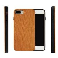 أحدث نمط مخصص الخشب الحقيقي + لينة TPU صدمات حالة الهاتف لآيفون 7 8 زائد محفورة خشبية غطاء الهاتف المحمول لفون