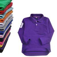 Brands Enfants Polos T-shirt Enfants Vers manches longues Bébé Polos T-shirt Boys Tops Vêtements Coton T-shirts T-shirts Mode Broderie Tees