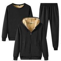 Мужские трекииты зимние густые теплые флисовые спортивные комплекты 3 куда с капюшоном + толстовка + брюки повседневный мужской набор спортивные потные костюмы