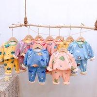 Зимние Jchao Детские пижамы Одежда наборы Мальчики Девочки Удобная пижама Марка младенца теплый толстый рубашки + штаны пижамы костюм C1116